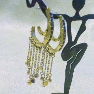 Vintage Jewelry - Vintage Half Hoop Rhinestone Chain Earrings